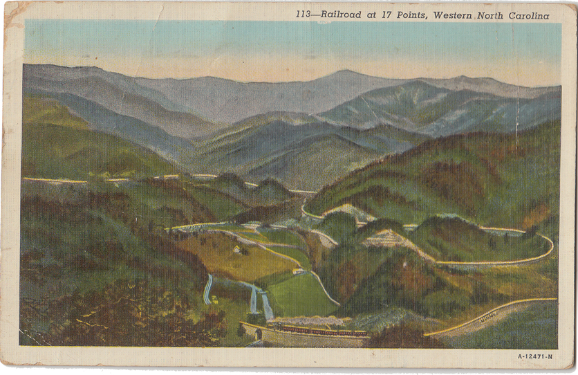 Postcard: Railroad at 17 Points, Western NCFrom the papers of Merry T. Pittman